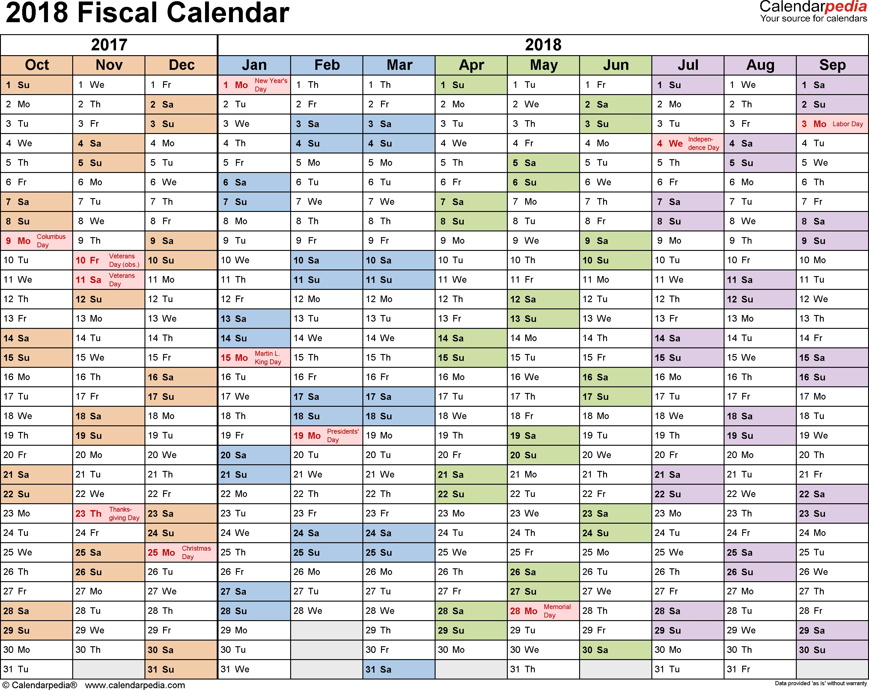 Fiscal Calendars 2018 As Free Printable Pdf Templates with regard to Fiscal Year Vs Calendar Year