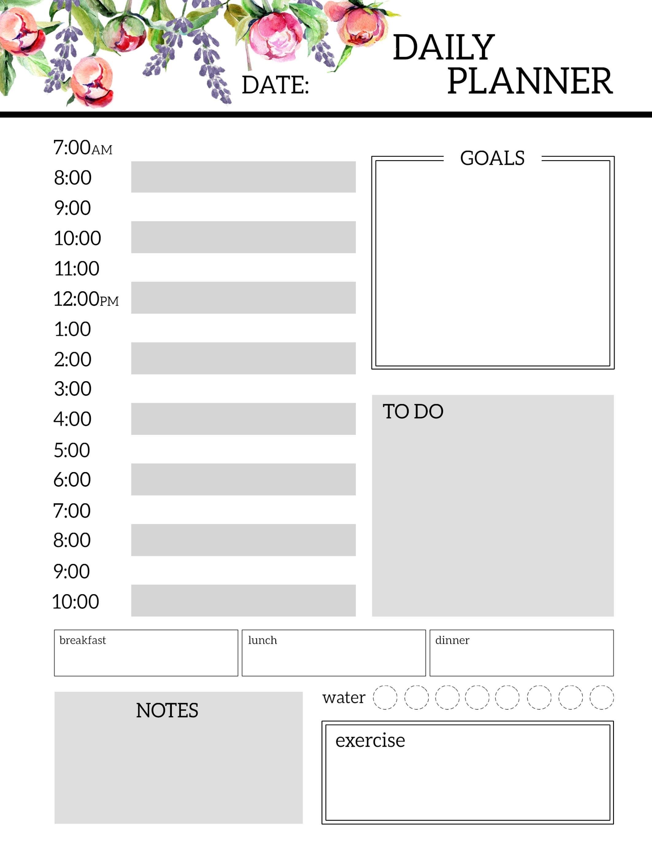 Floral Free Printable Daily Planner Template Sheets - Paper Trail Design with Daily Planner Template Printable Free