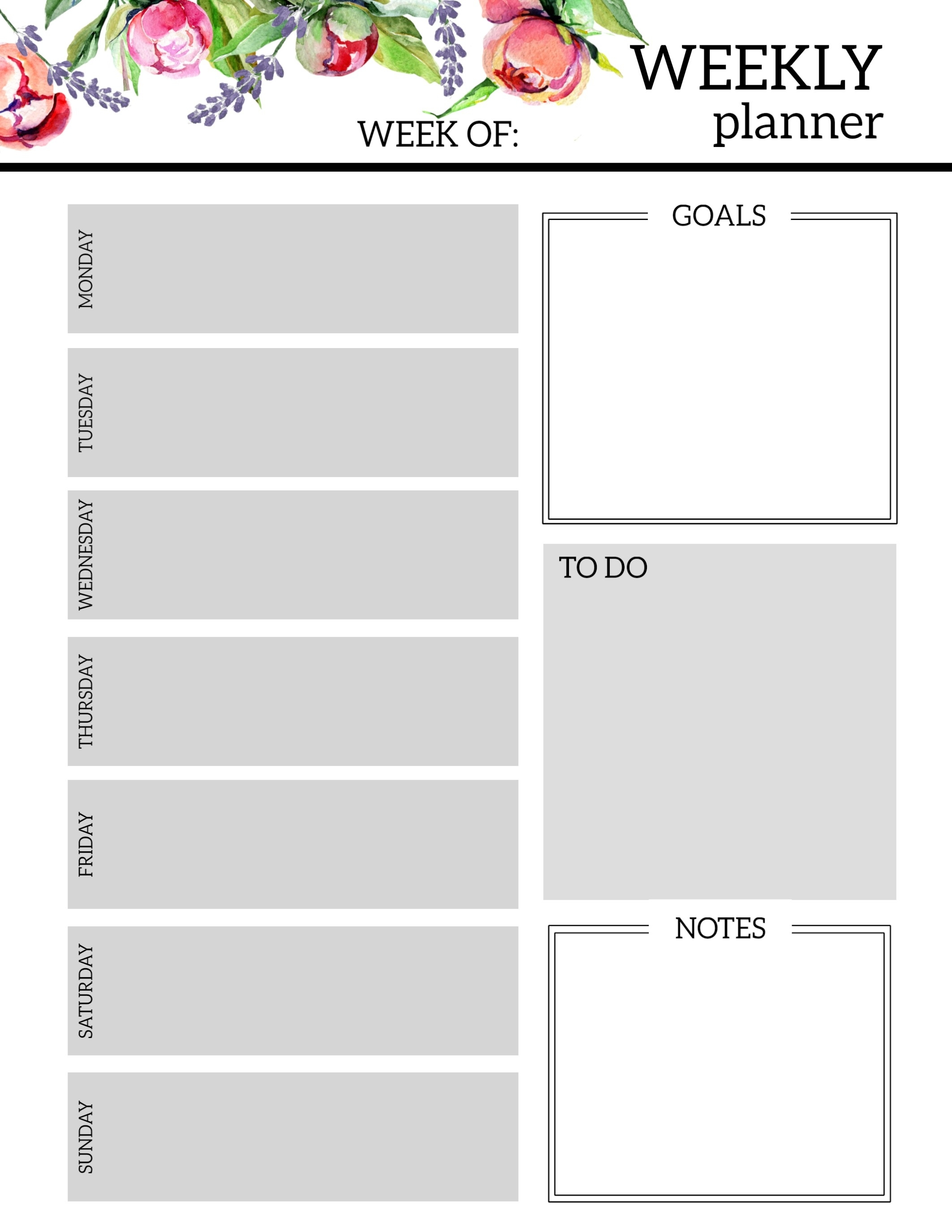 Floral Free Printable Weekly Planner Template - Paper Trail Design pertaining to Free Printable Weekly Planner Calendar Template