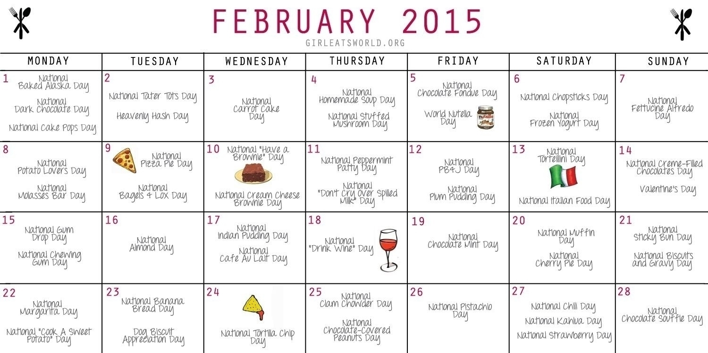 Food Days Of The Year Calendar | Template Calendar Printable regarding Calender With National Food Days