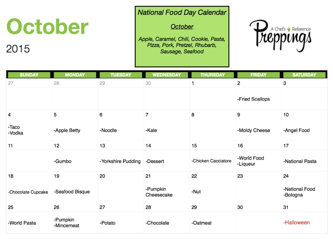 Food Days Of The Year Calendar | Template Calendar Printable regarding Food Days Of The Year Calendar