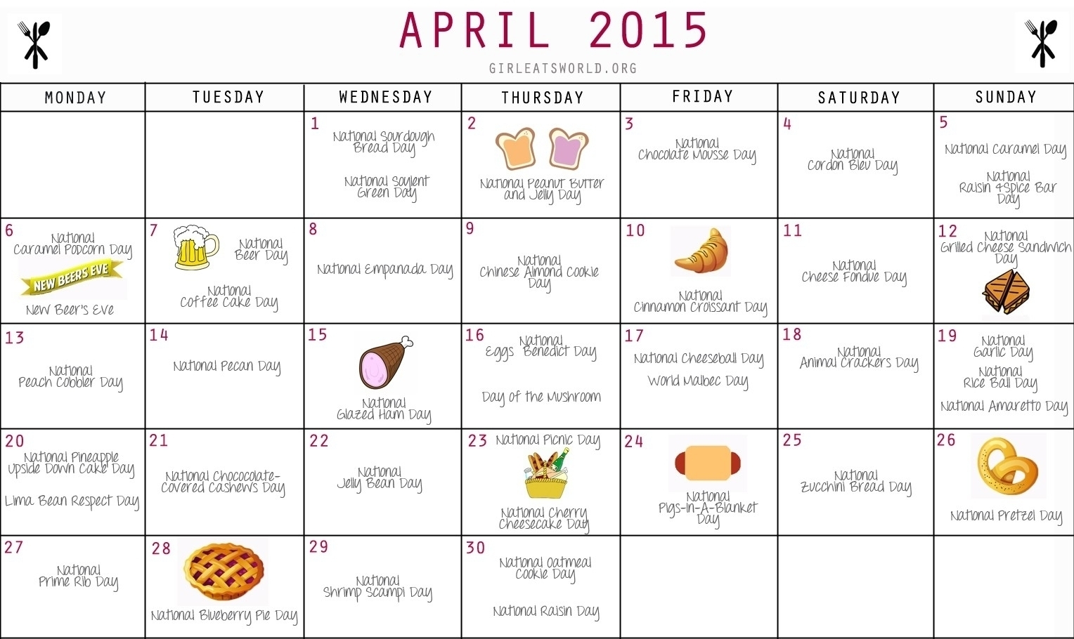 Food Days Of The Year Calendar | Template Calendar Printable with National Food Day Calendar Printable