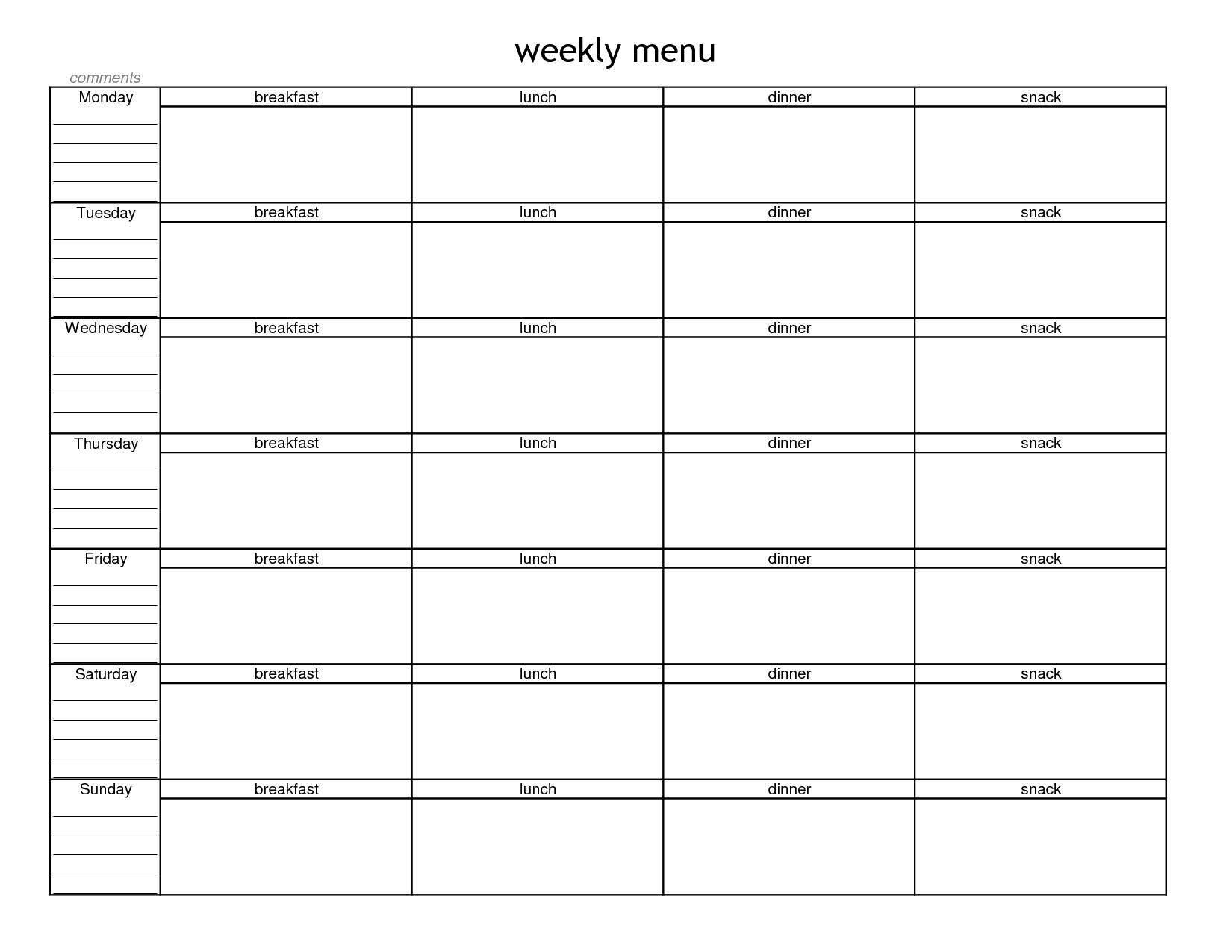 Food Truck Business Plans Plan Template Valid Al Planning throughout Monthly Printable Blank Menus To Print