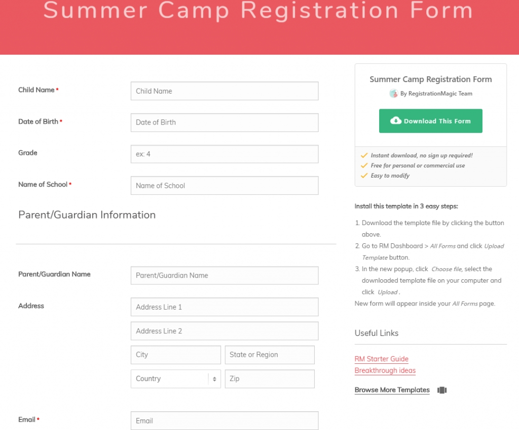 Form Summer Camp Registration Forms Template Frequently Used for Free Download Blank Summer Camp Application