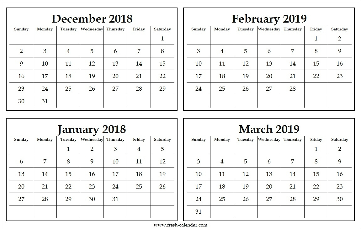 Four Monthly December 2018 January To March 2019 Calendar Free with regard to Images Of A Calendar January Through December