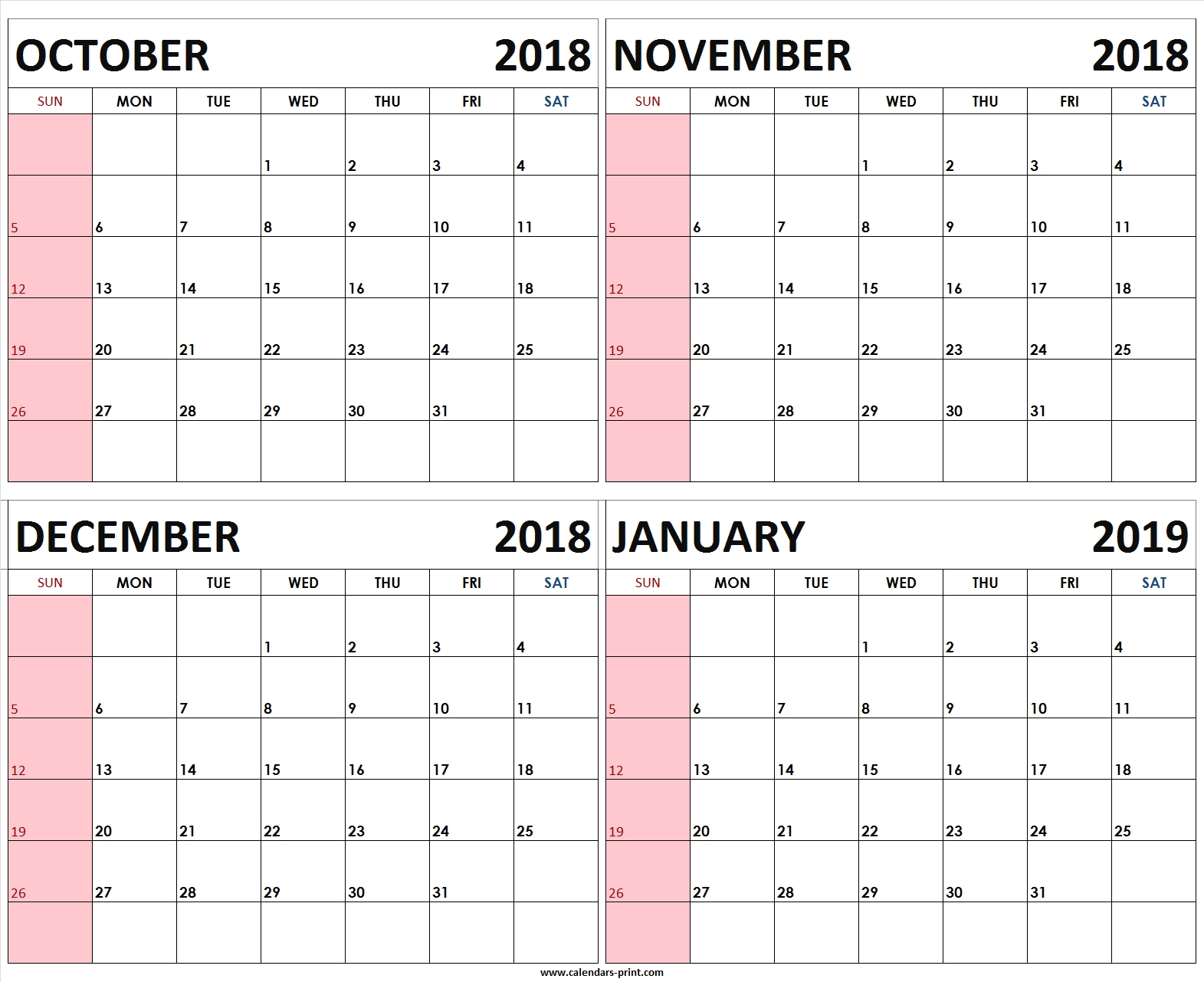 Four Monthly October November December 2018 January 2019 Calendar throughout Images Of A Calendar January Through December