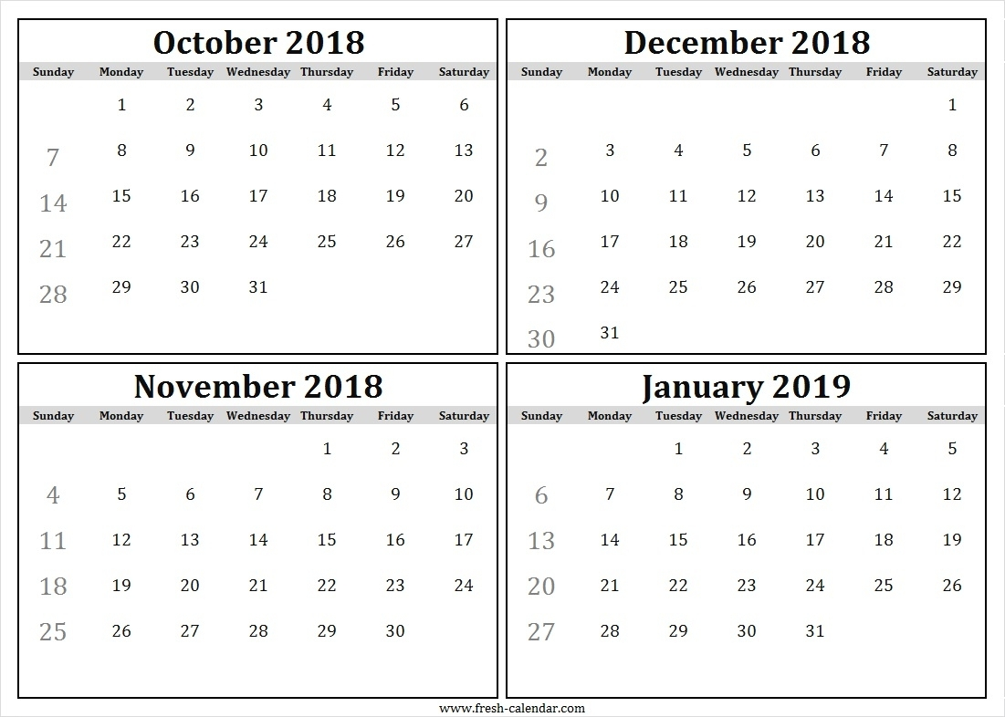 Four Monthly October To December 2018 January 2019 Calendar Free with Images Of A Calendar January Through December
