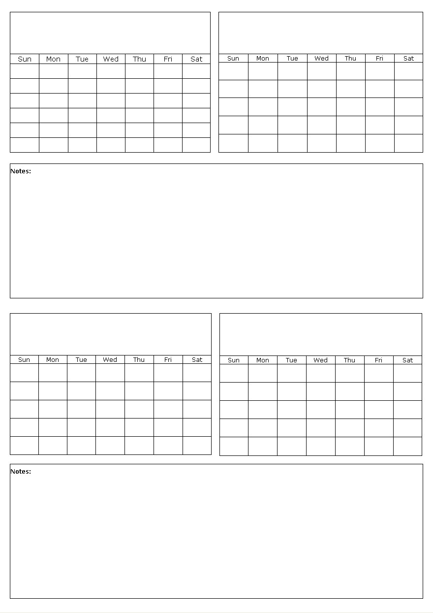 Four Months On A Page Blank Calendar Template intended for Blank Four Month Calendar Template