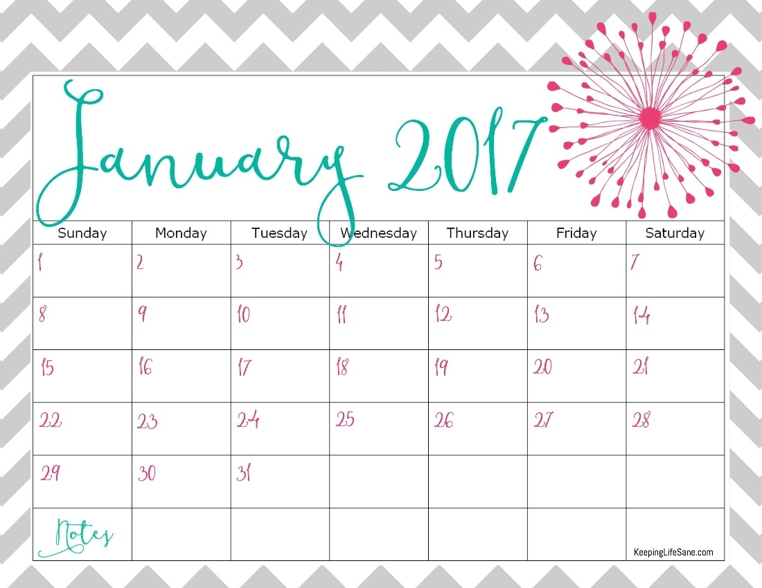 Free 2017 Calendar For You To Print - Keeping Life Sane inside August Keeping Life Sane Printable Schedule