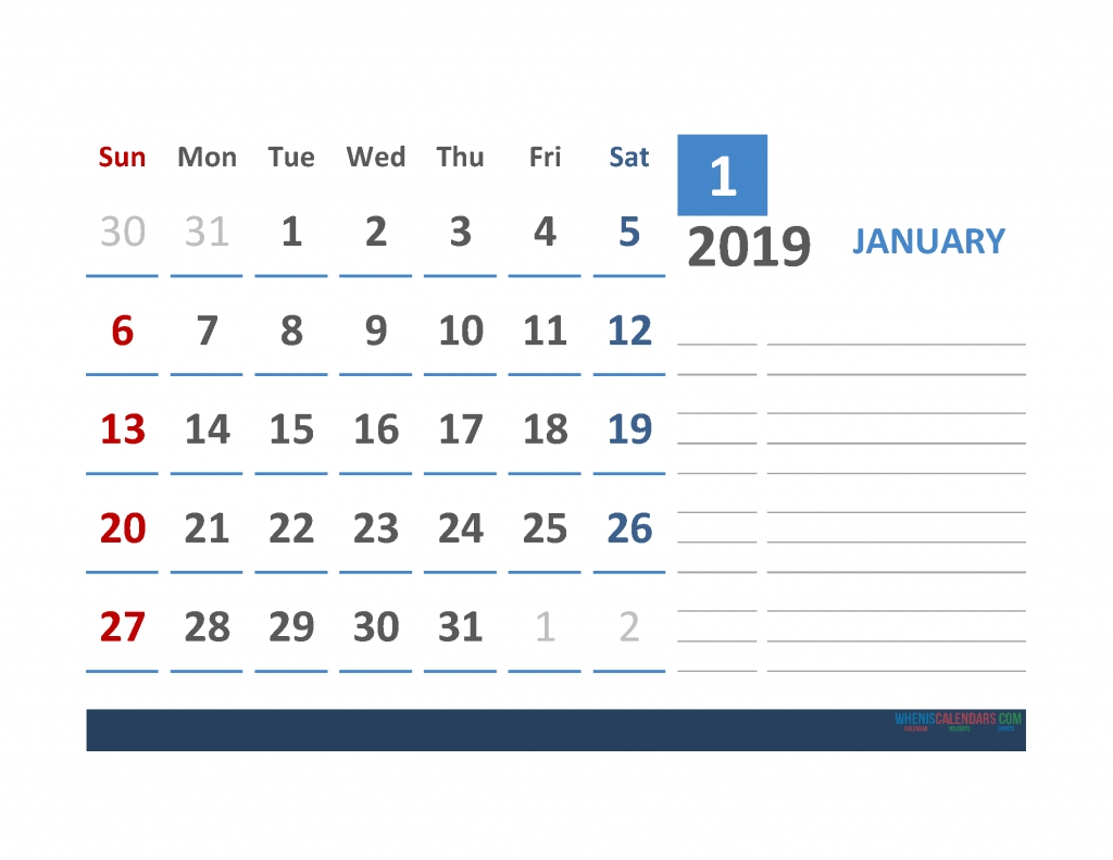 Free 2019 Calendar Template 2019 Monthly Calendar Landscape Layout inside Calendar With Large Space For Notes In Excel
