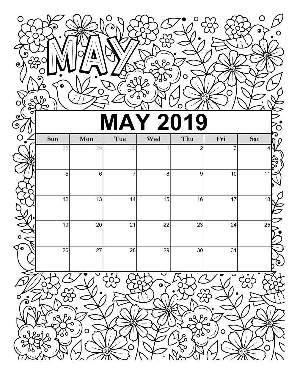 Free 2019 Printable Coloring Calendar Pages | Calendar 2019 | Free for Free Coloring Calendars For June