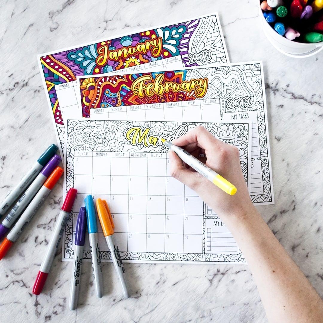Free 2019 Printable Coloring Calendar -Sarah Renae Clark with regard to Free Coloring Calendars For June