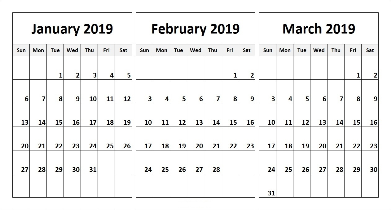 Free 2019 Three Month Printable Calendar Templates | Free Printable throughout Free Printable Three Month Calendar