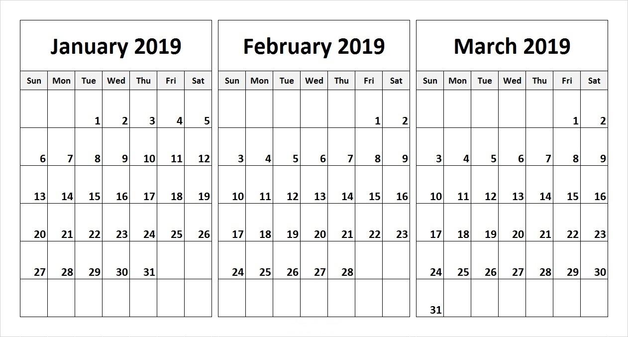 Free 2019 Three Month Printable Calendar Templates   Free Printable with regard to Printable 3 Month Calendar Templates