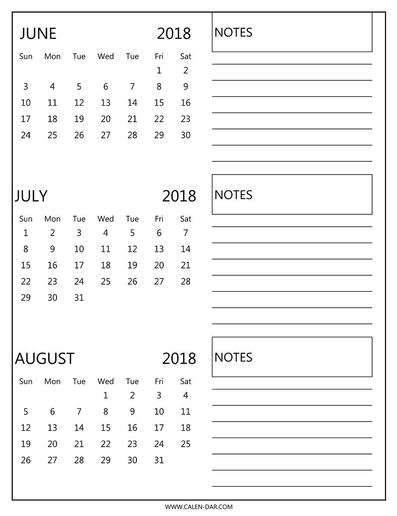 Free 3 Monthly Calendar 2018 June July August Print | 2018 Calendar in Print Month Of June And July