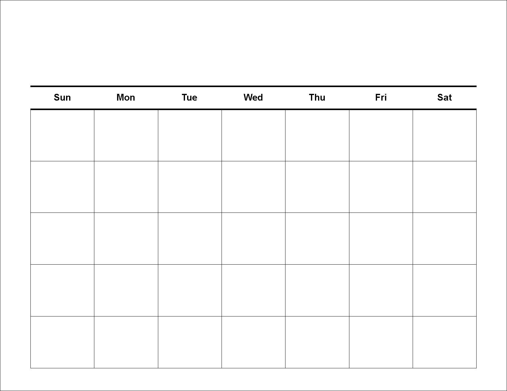 Free 5 Day Calendar Template | Printable Calendar Templates 2019 with regard to Free 30 Day Calendar Printable
