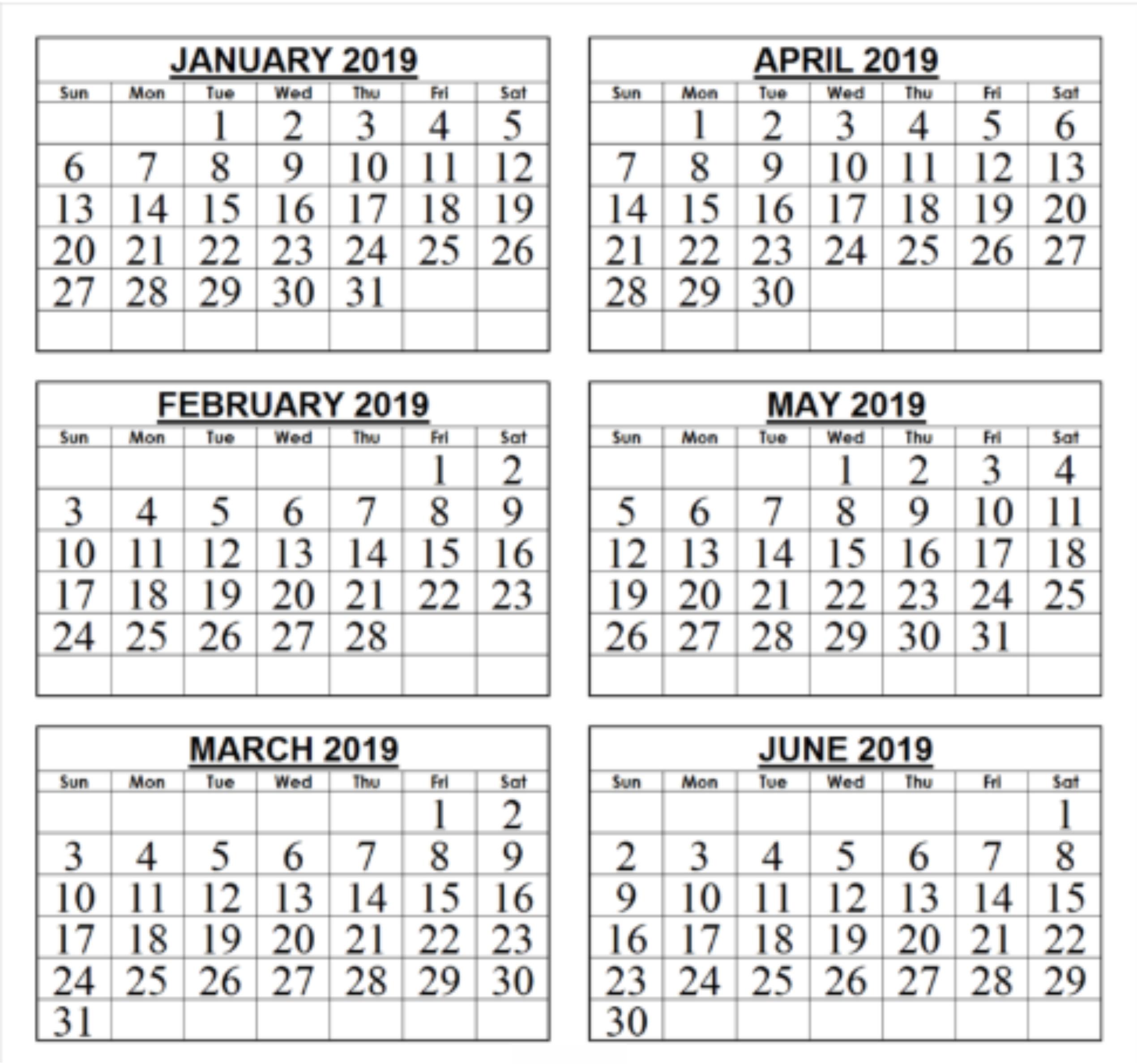 Free 6 Month Calendar 2019 • Printable Blank Calendar Template inside 12 Month Calendar Printable Free