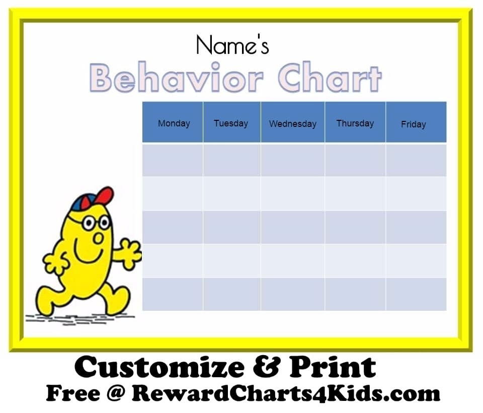 Free Behavior Charts intended for Blank Free Printable Star Charts Monday Thru Friday