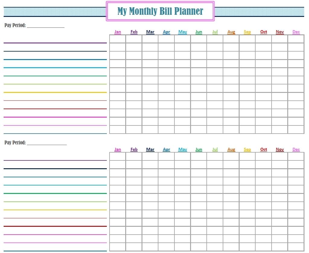 Blank Bill Calendar Printable Colorful - Calendar ...