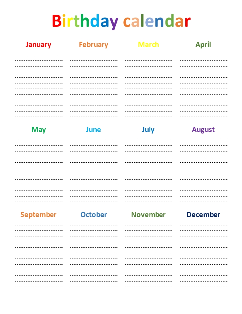 Free Birthday Chart | Templates At Allbusinesstemplates pertaining to Free Printable Birthday Chart Templates