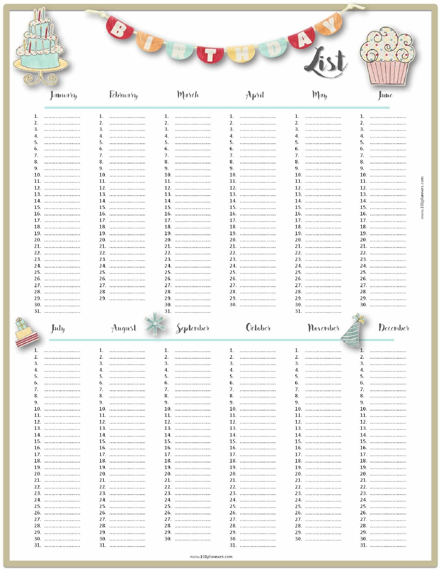 Free Birthday List Template | Customize Then Print within Frame Birthday Calendar Templates Free