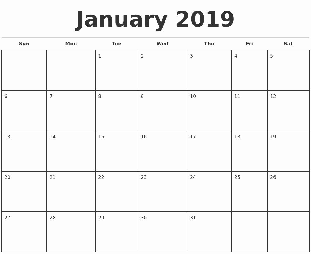 Free Blank Calendar Printable 2019 2019 Monthly Calendar Template throughout Blank Monthly Calendar To Download Free