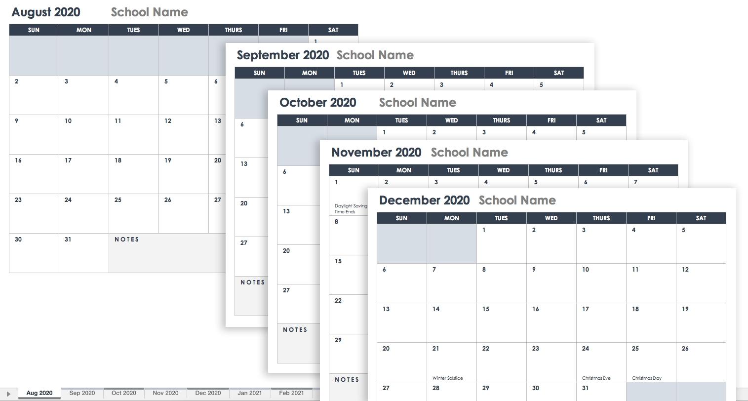 Free Blank Calendar Templates - Smartsheet for School Calendar Template Monday Thursday