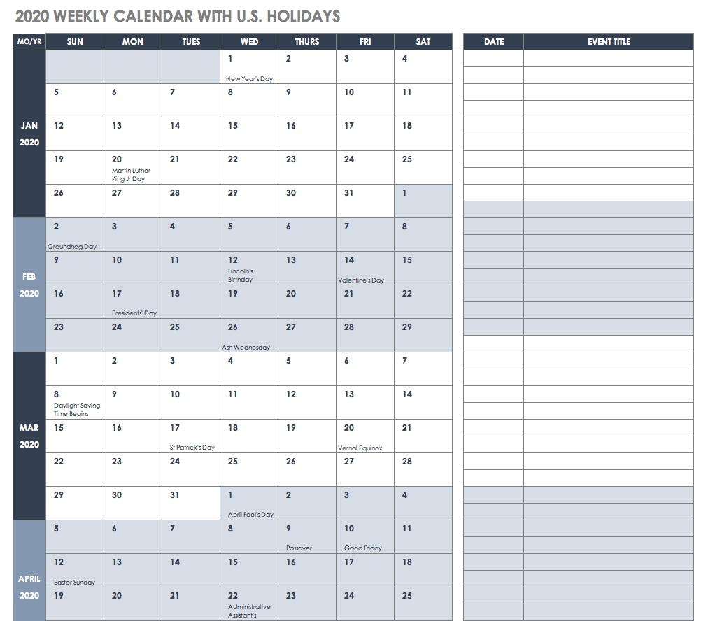 Free Blank Calendar Templates - Smartsheet throughout 7 Day 12 Week Planner Blank