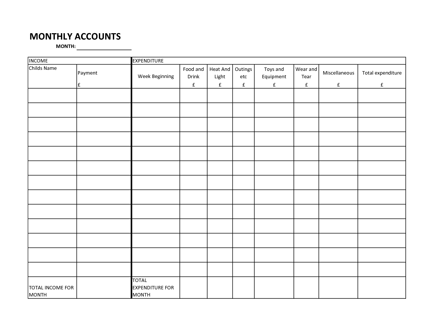 Free Blank Monthly Bill Organizer And Log Spreadsheet Template : Violeet inside Blank Printable Bill Payment Planner