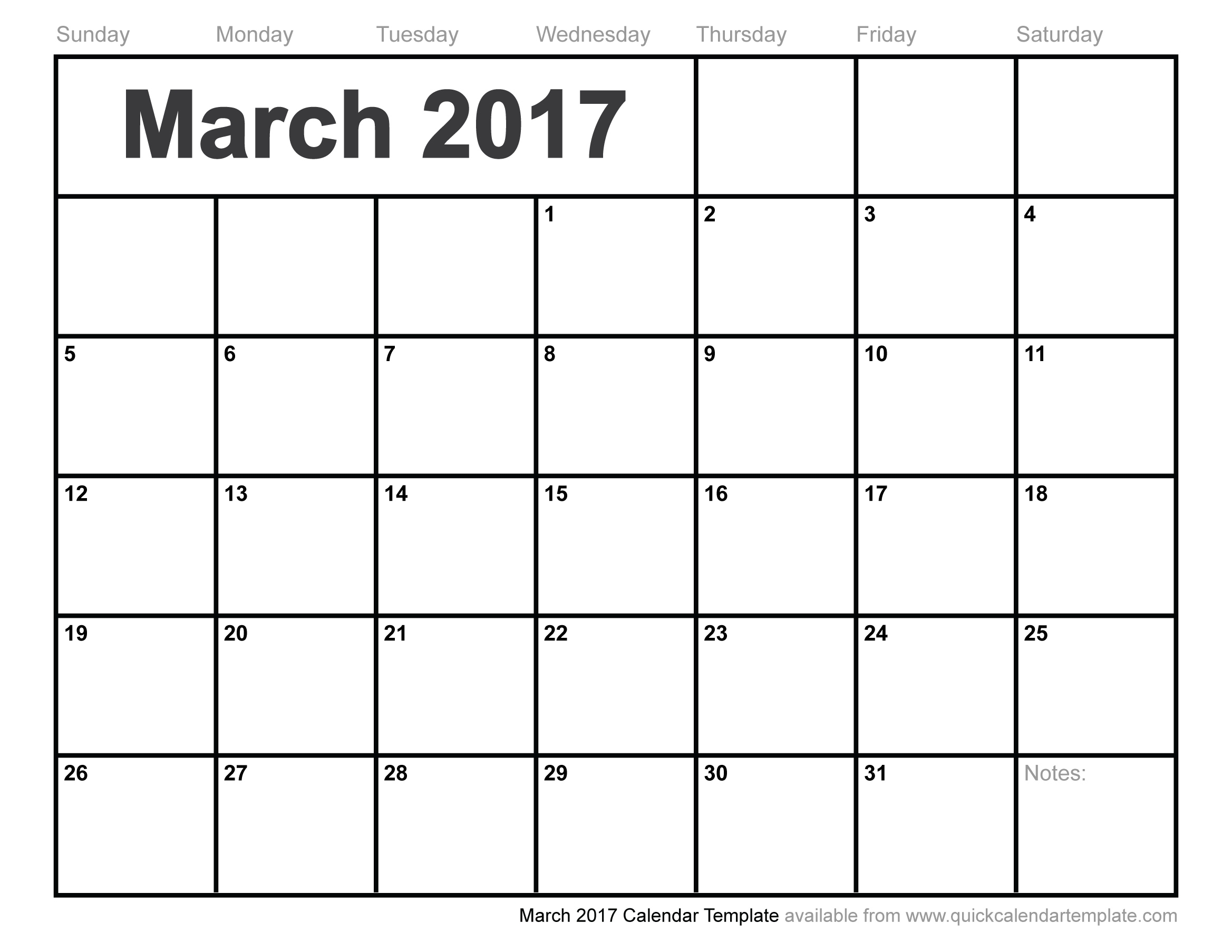 Free-Blank-Printable-March-2017-Calendar-Template pertaining to Blank Screensaver Template To Print