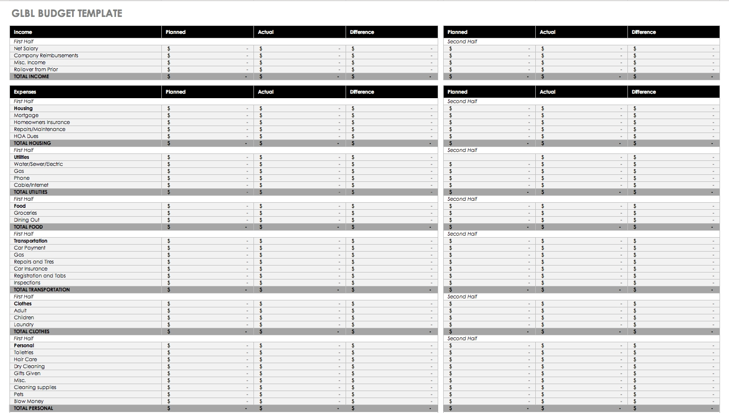 Free Budget Templates In Excel For Any Use pertaining to Blank Monthly Budget Excel Spreadsheet