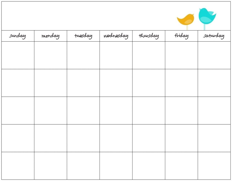 Free Day Blank Calendar Week Template Ble | Smorad intended for 7 Day Week Blank Calendar Printable