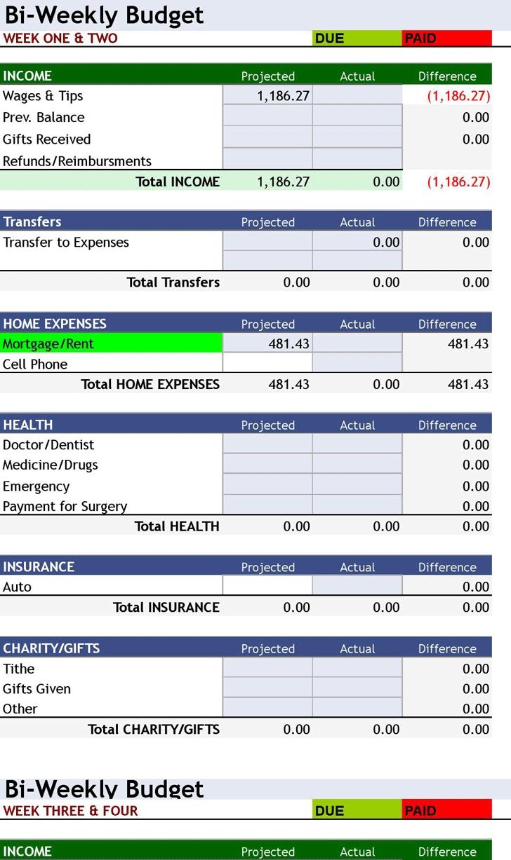 Free Download ° Bi-Weekly Personal Budget ° Excel Spreadsheet (8 pertaining to Free Printable Bi-Weekly Bill Organizer