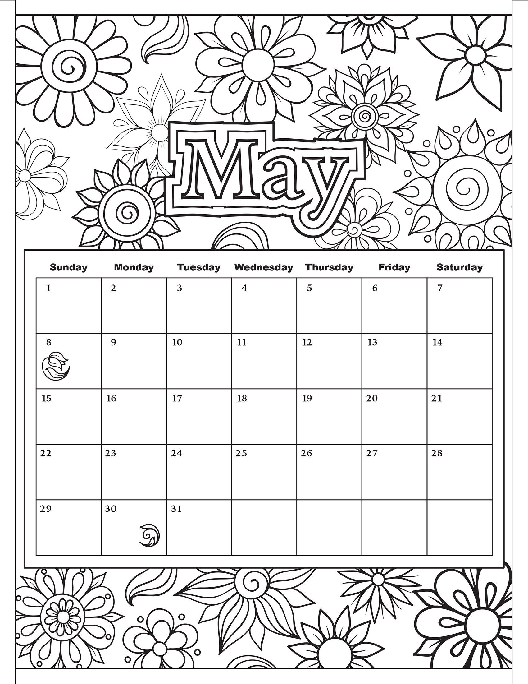 Free Download: Coloring Pages From Popular Adult Coloring Books with Free Coloring Calendars For June
