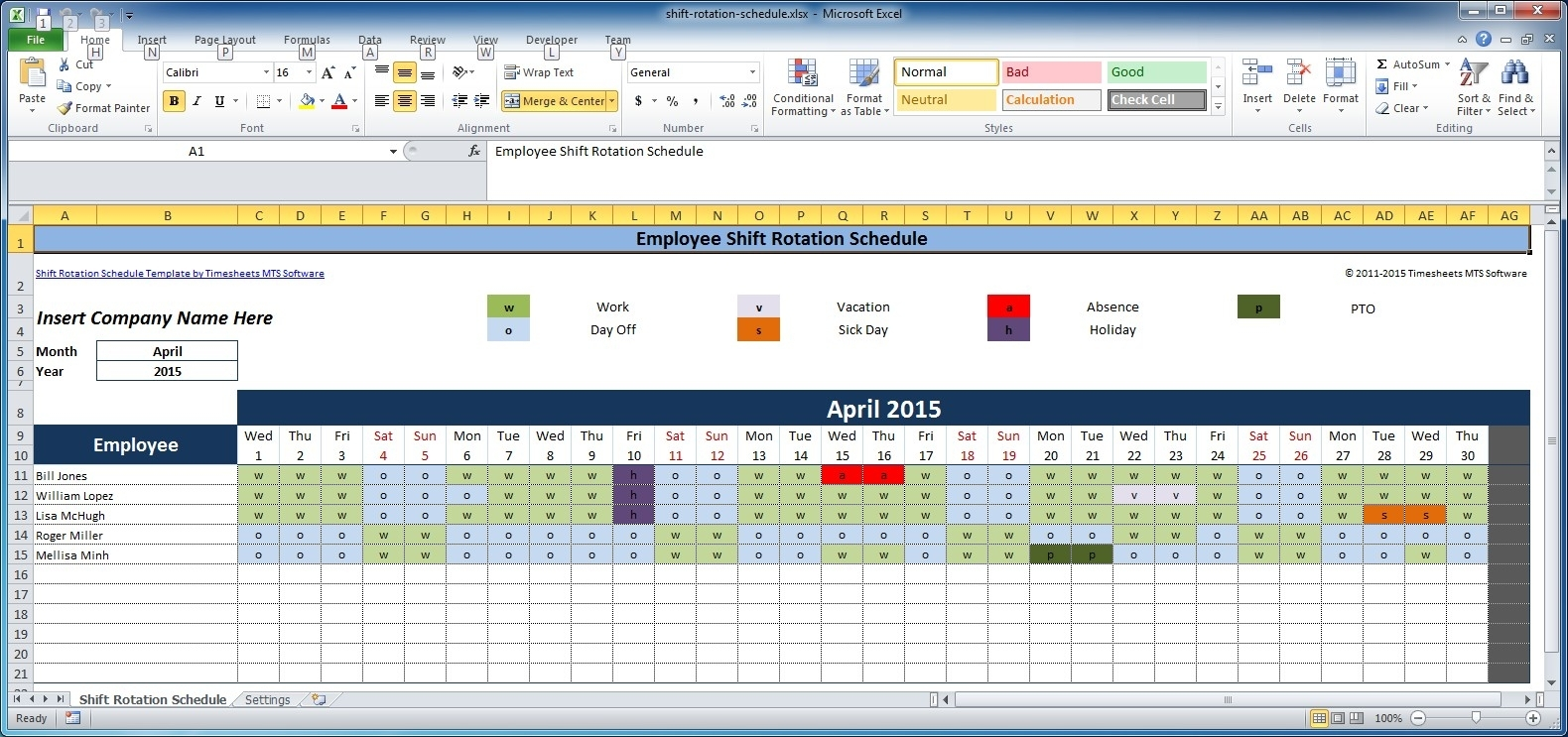 Free Employee And Shift Schedule Templates intended for 4 Week Blank Rotating Schedule Calendar