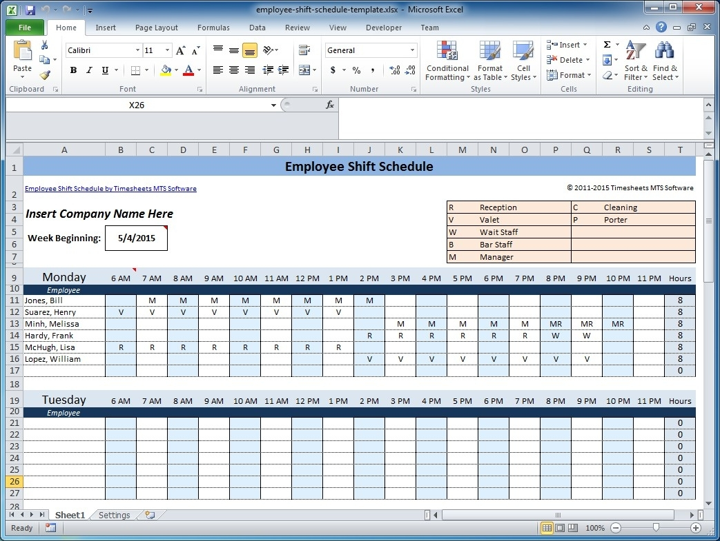 Free Employee And Shift Schedule Templates within 4 Week Blank Rotating Schedule Calendar
