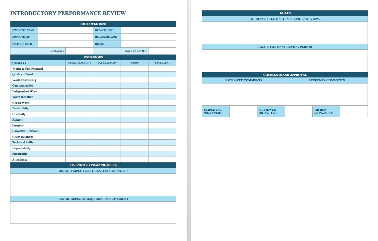 Free Employee Performance Review Templates - Smartsheet throughout Annual Employee Planning Report Sample