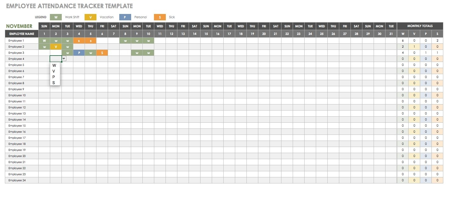 Free Human Resources Templates In Excel in Calendar For Employees Vacation List
