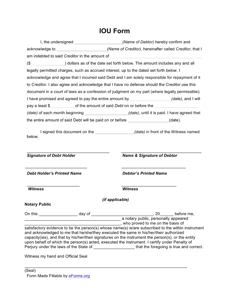 Free I Owe You (Iou) Template - Pdf | Eforms – Free Fillable Forms for Free Printable Blank Templates For Paid And Owed