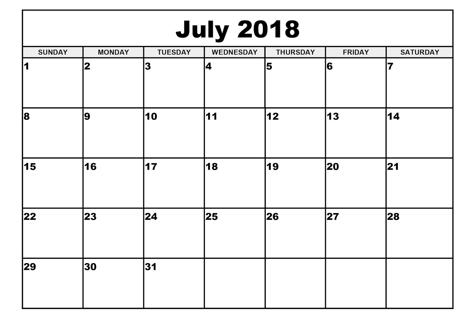 Free July 2018 Calendar Printable Blank Templates - Word Pdf in July Printable Calendar With Hours
