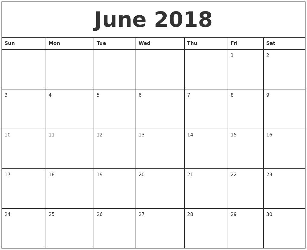 Free June 2018 Calendar Printable Blank Templates - Word Pdf within Printable Month To Month Calendar