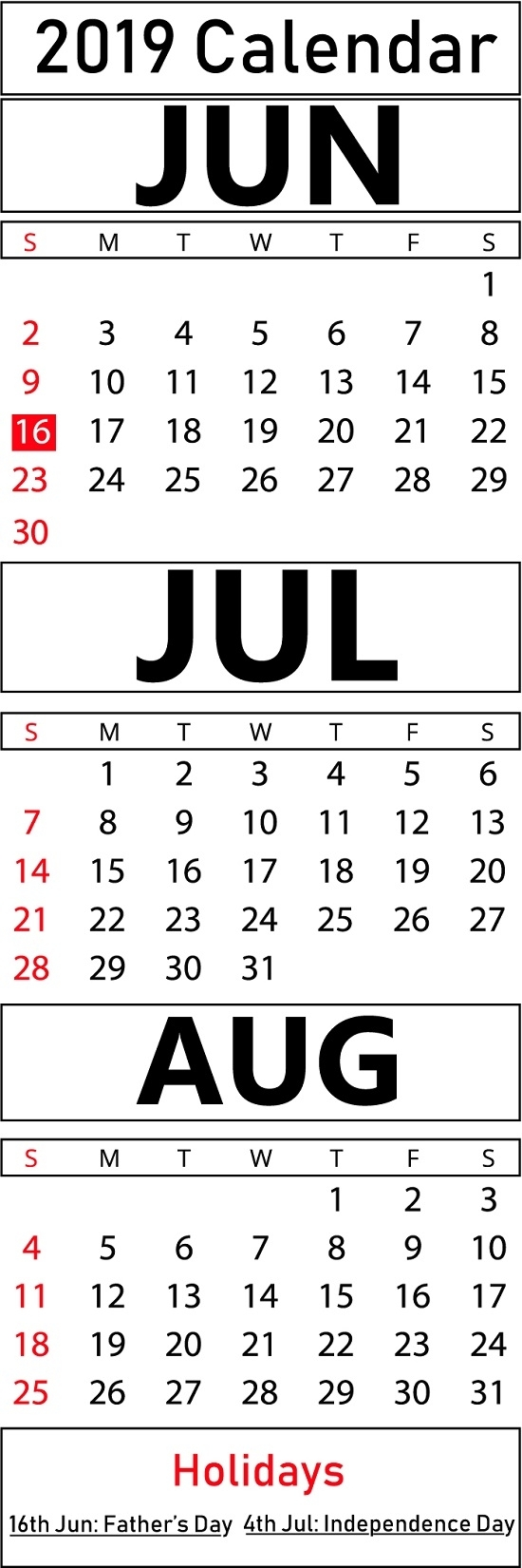 Free June & July & August 2019 Printable Blank Calendar Templates intended for July And August Blank Calendar