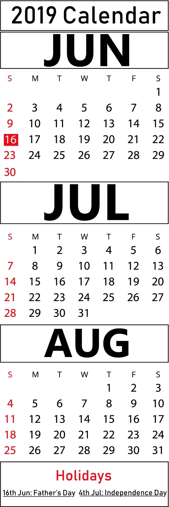 Free June & July & August 2019 Printable Blank Calendar Templates with regard to Small Calender For July And Agust