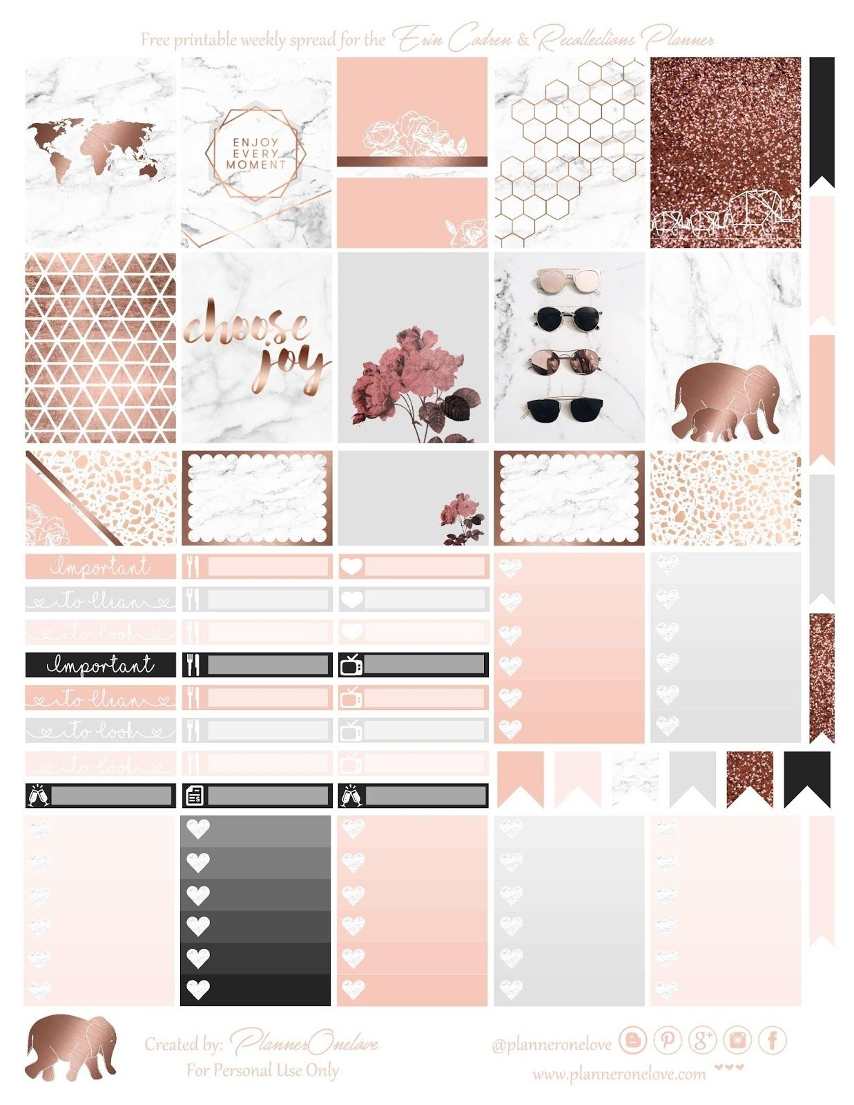Free Marble & Rose Gold Printable For Erin Condren & Recollections pertaining to Marble Themed Blank Class Schedule Template