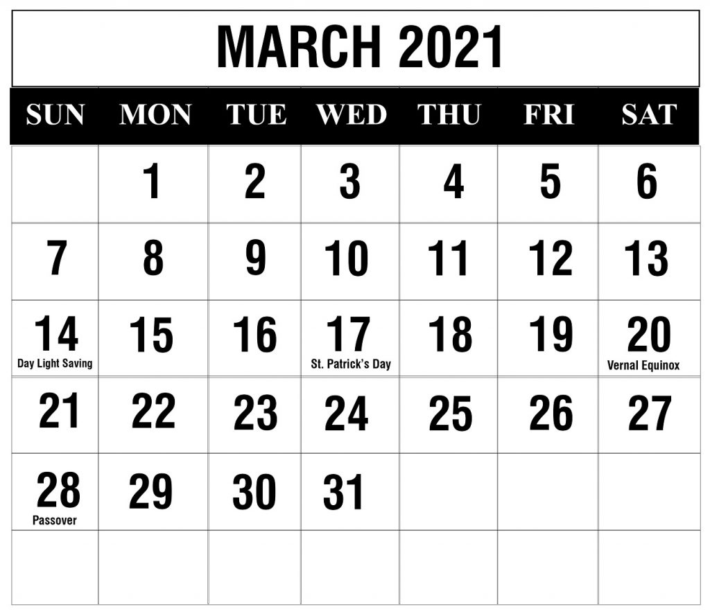 Free March 2021 Printable Calendar Template In Pdf, Excel, Word for Free Calendar Templates For The Blind