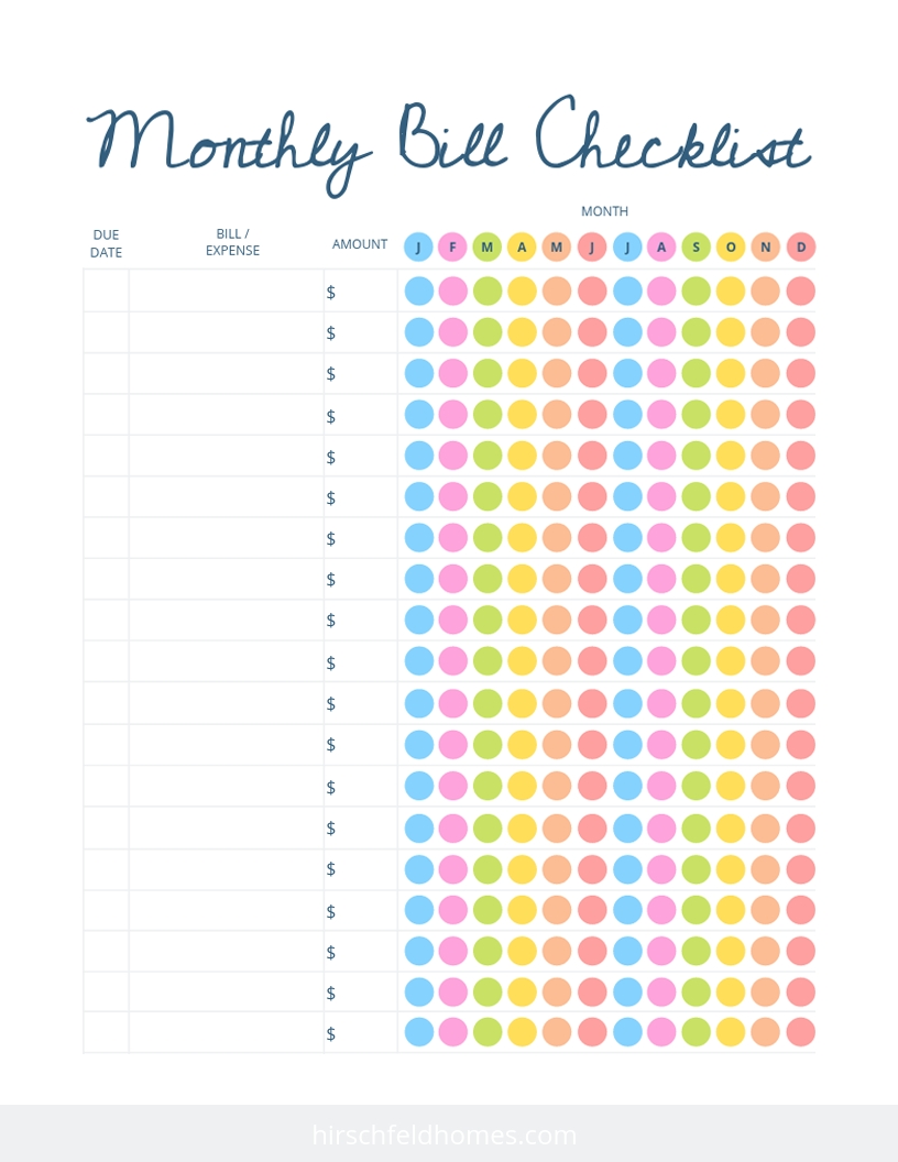 Free Monthly Bill Checklist | Hirschfeld Apartments inside Free Printable Monthly Bill Tracker