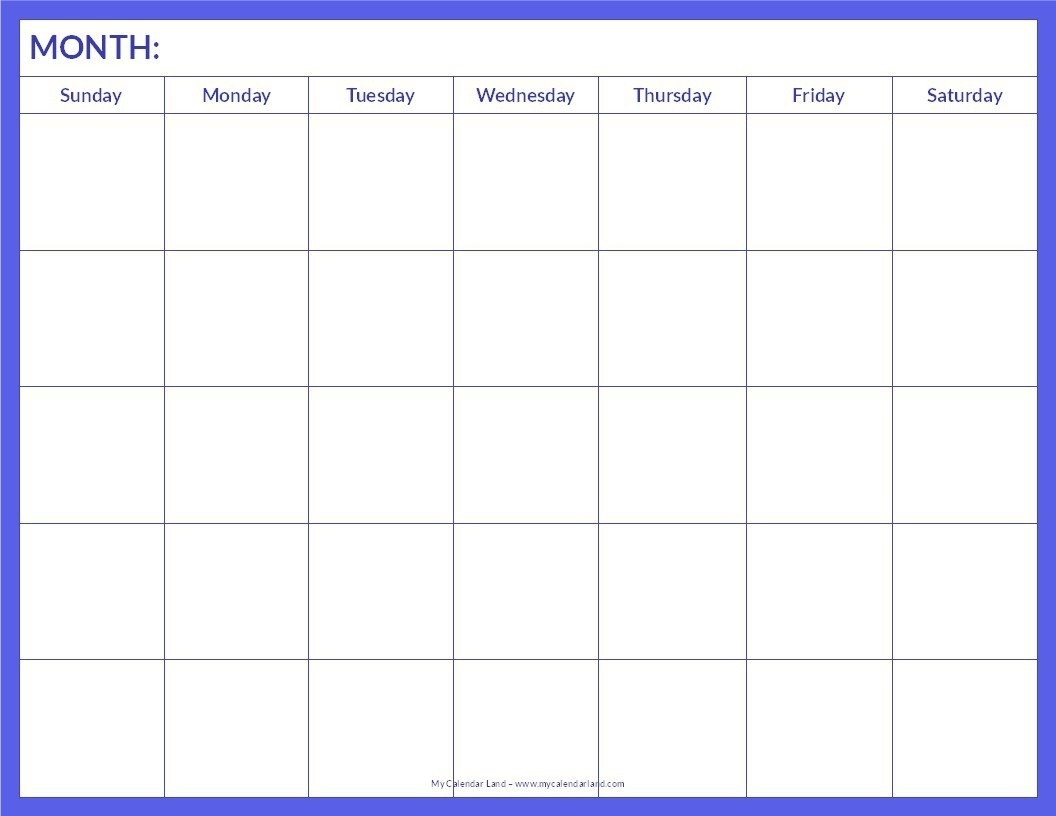 Free Monthly Blank Calendar Template Printable Pdf Word Excel Notes intended for Free Printable Blank Monthly Calendar Templates