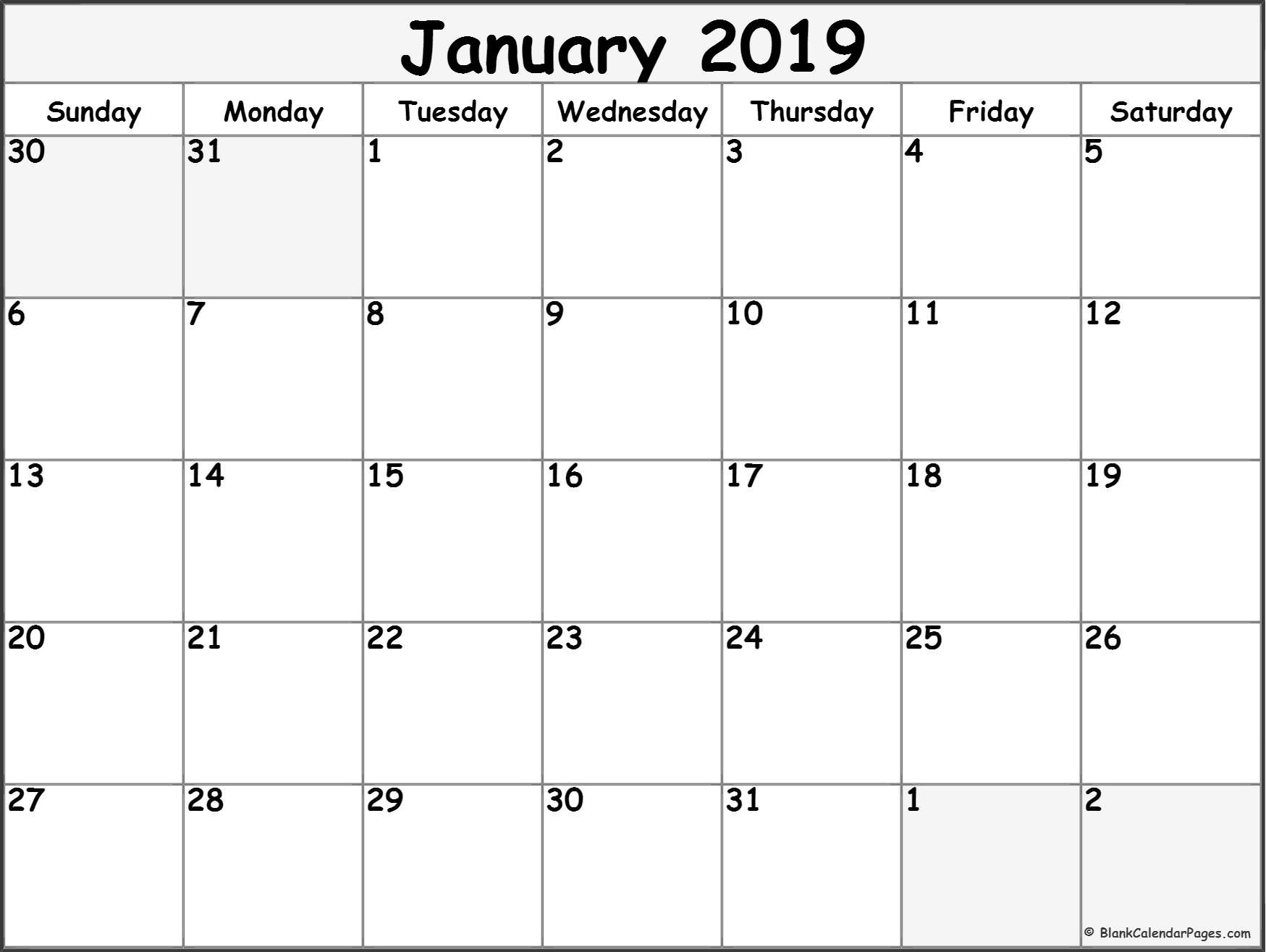Free Monthly January 2019 Calendar Word Excel Landscape Notes Pdf with regard to Free Monthly Calendars To Print