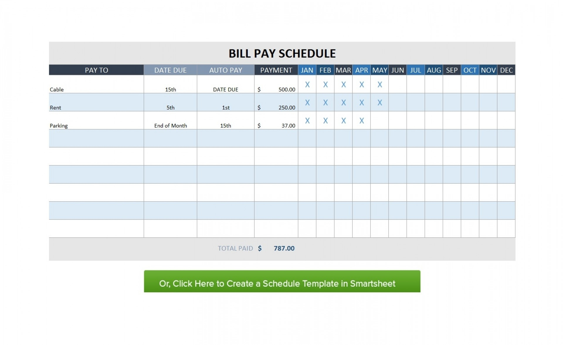 Free Monthly Schedule Ate Bill Planner Excel With Payment Plus inside Monthly Bill Calendar For A Year