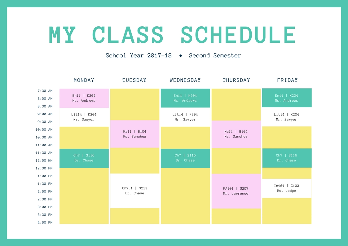 Free Online Class Schedules: Design A Custom Class Schedule In Canva with regard to 2 Week Induction Timetable Free Template